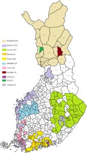 Suomen kartta, jossa väritettynä rahoitetut kuntaverkostot