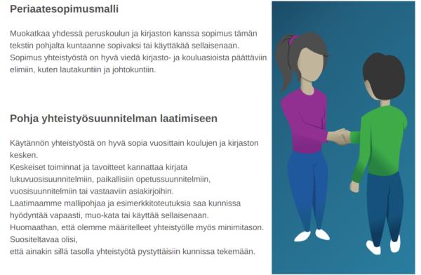 Kuvakaappaus Kirjastot.fi -sivulta, jossa lueteltu mallin periaatteet